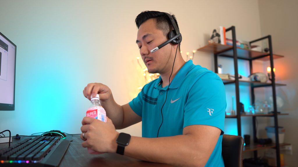Daniel drinking beverage