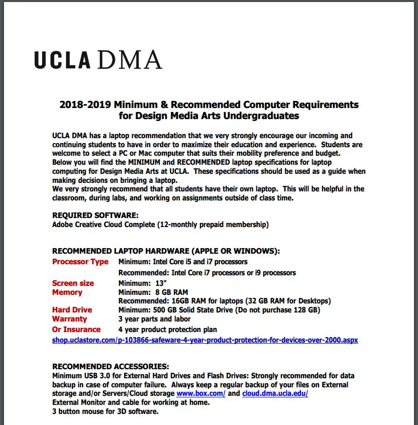 UCLA laptop requirements