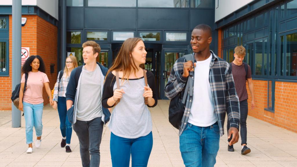 College kids walking