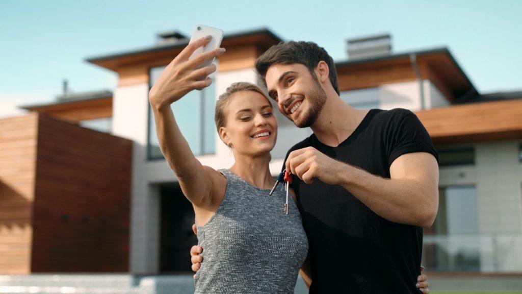 New home buyers taking selfie