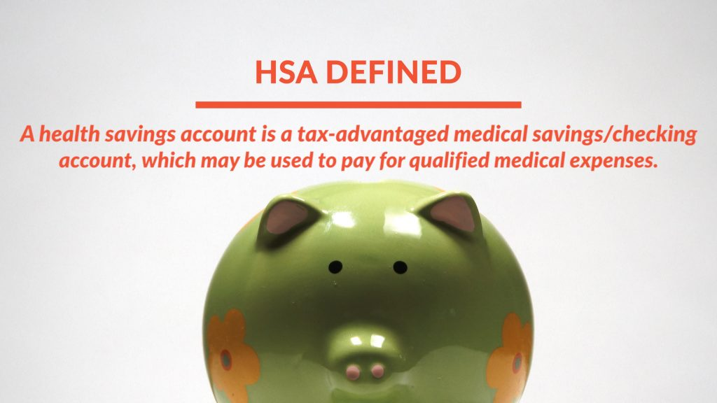 HSA definition screen with piggy bank background
