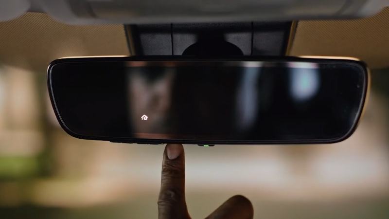 Picture of Homelink on rear mirror