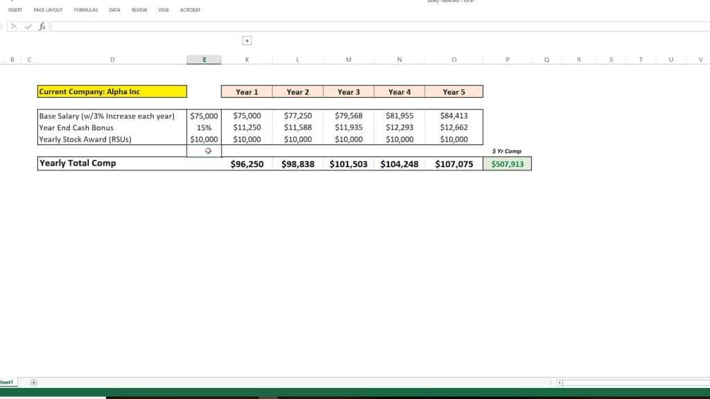 Salary calculation spreadsheet part 1
