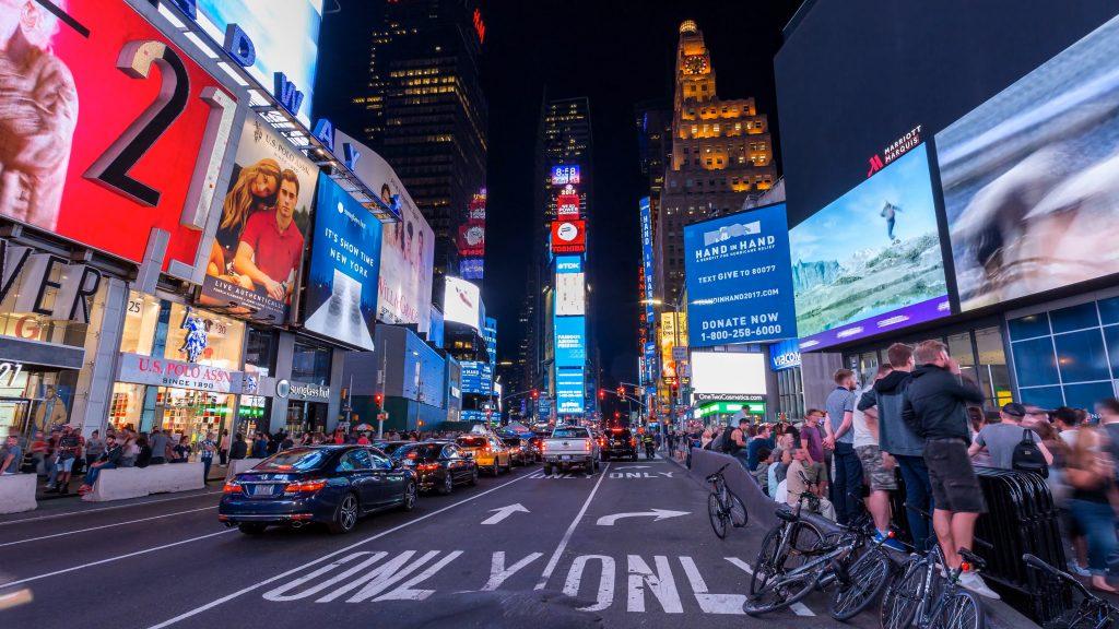 New York busy street scene at night