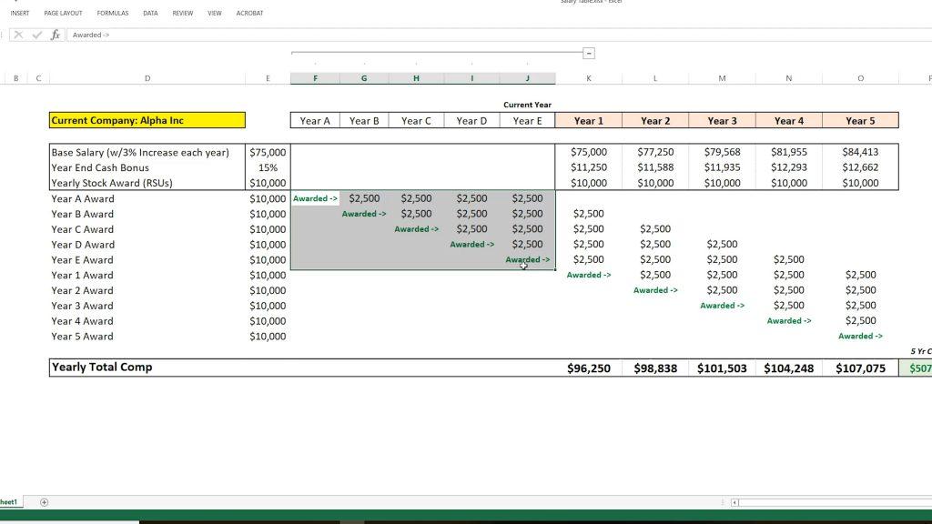 Salary calculation spreadsheet part 2