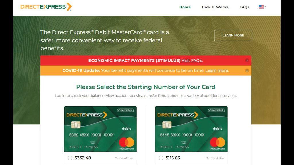 Debit Express website image