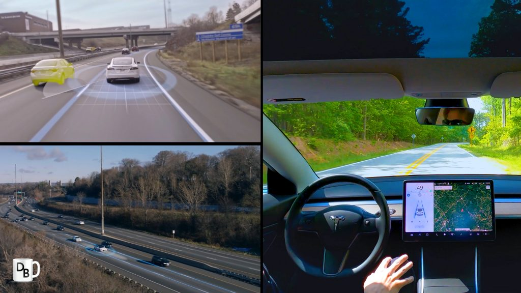 Collage of Tesla driving pics