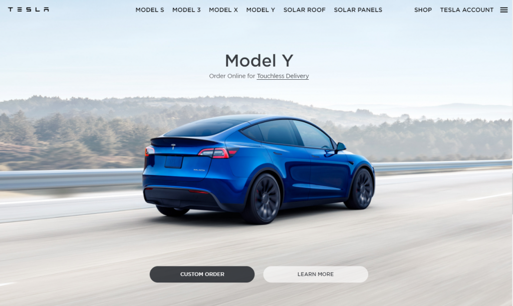 Model Y Order Screen 1