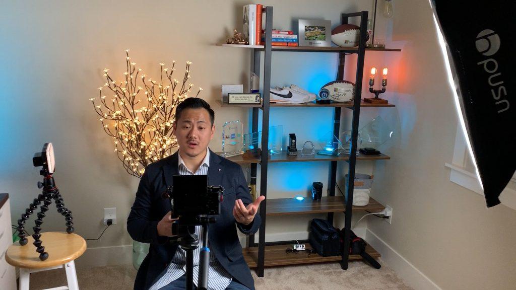 Daniel in room making a youtube video