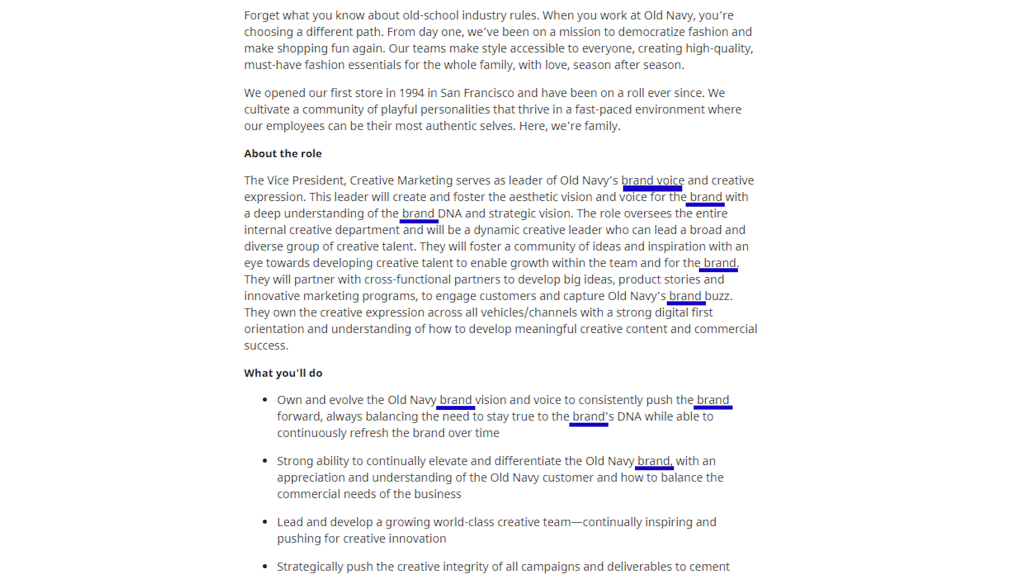 Job posting Image with highlighted words