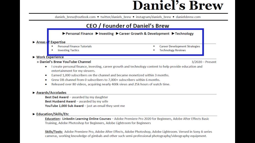 Daniel's Brew Resume Image