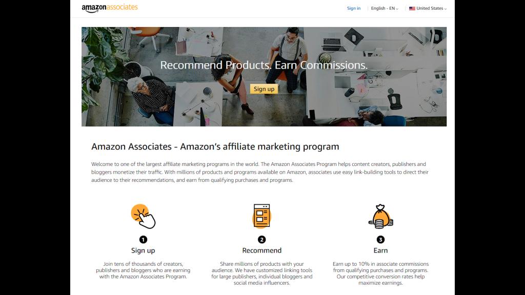 Screenshot of Amazon Affiliates program