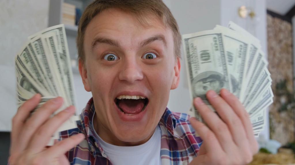 immature boy with money image