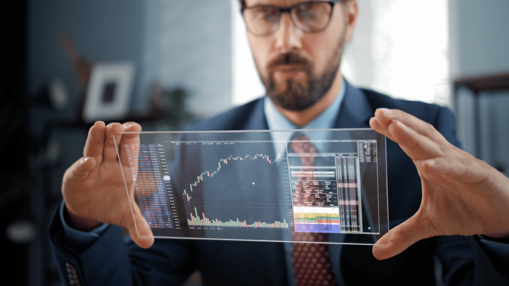 Graphic of man looking at futuristic stock chart