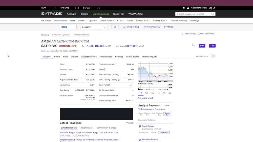 Etrade Stock Page