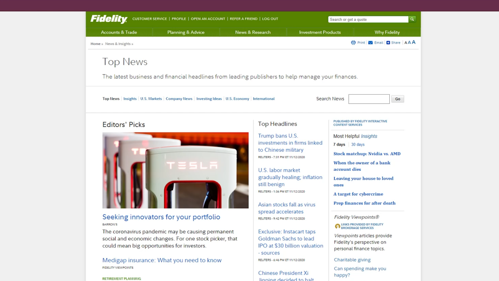 Fidelity News Page
