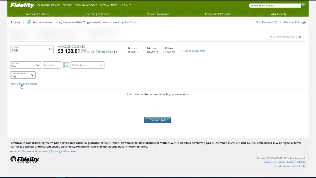 Fidelity Order Page