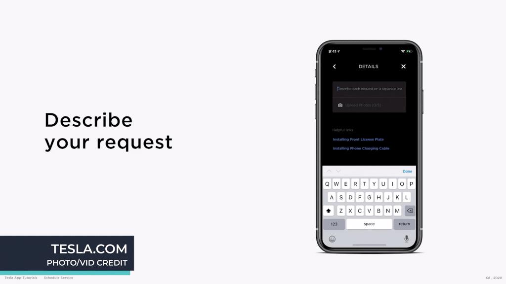 Tesla Service Request on App