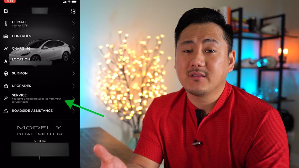 Tesla App Showing Unread Messages