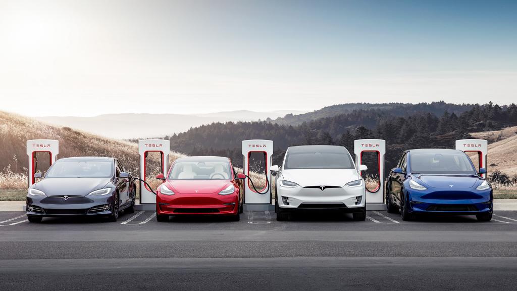Row of Teslas charging